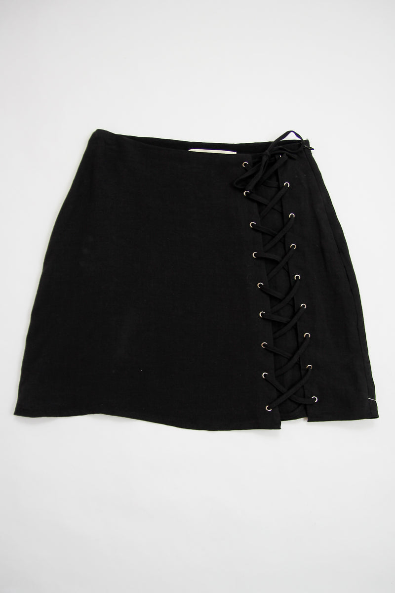 Lace Up Black Skirt
