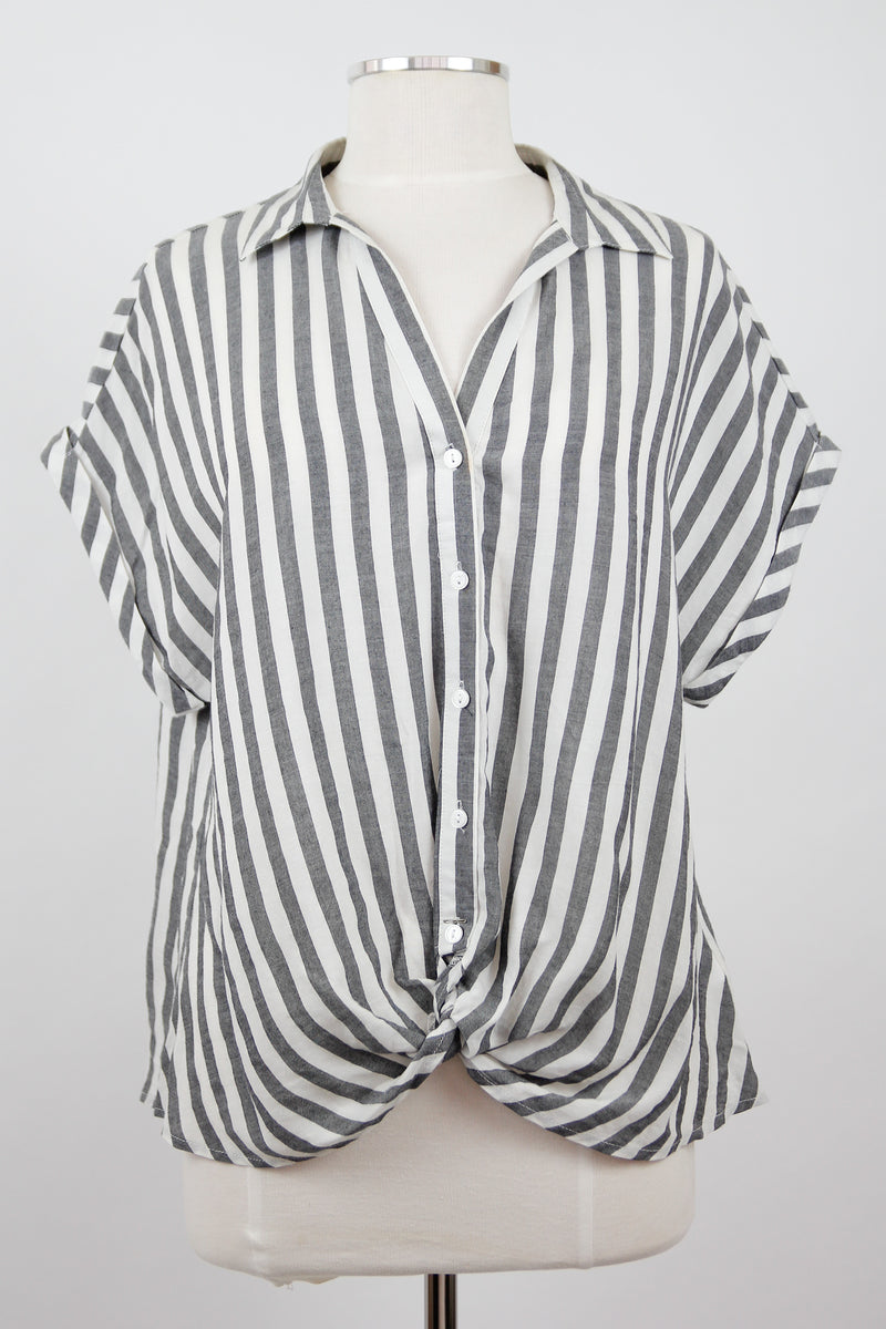 Striped & Twisted Top - Black