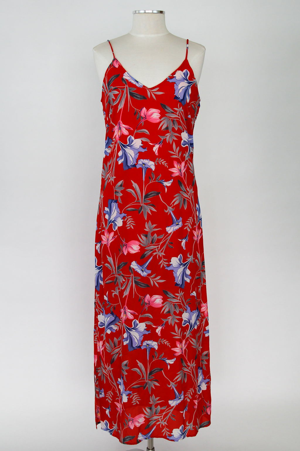 Red Tropical Floral Dress