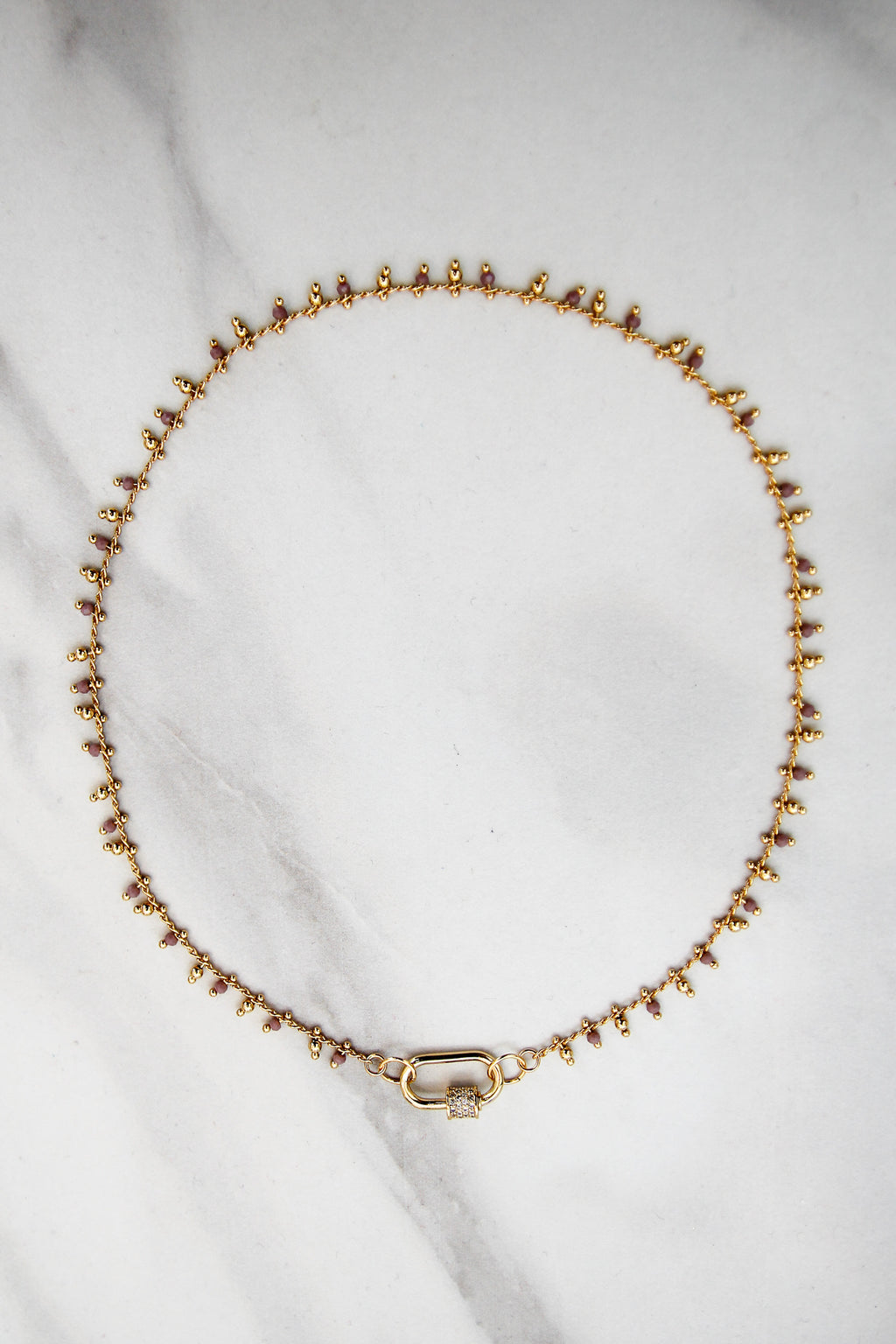 Royal Beaded Drip Choker - Gold & Lilac