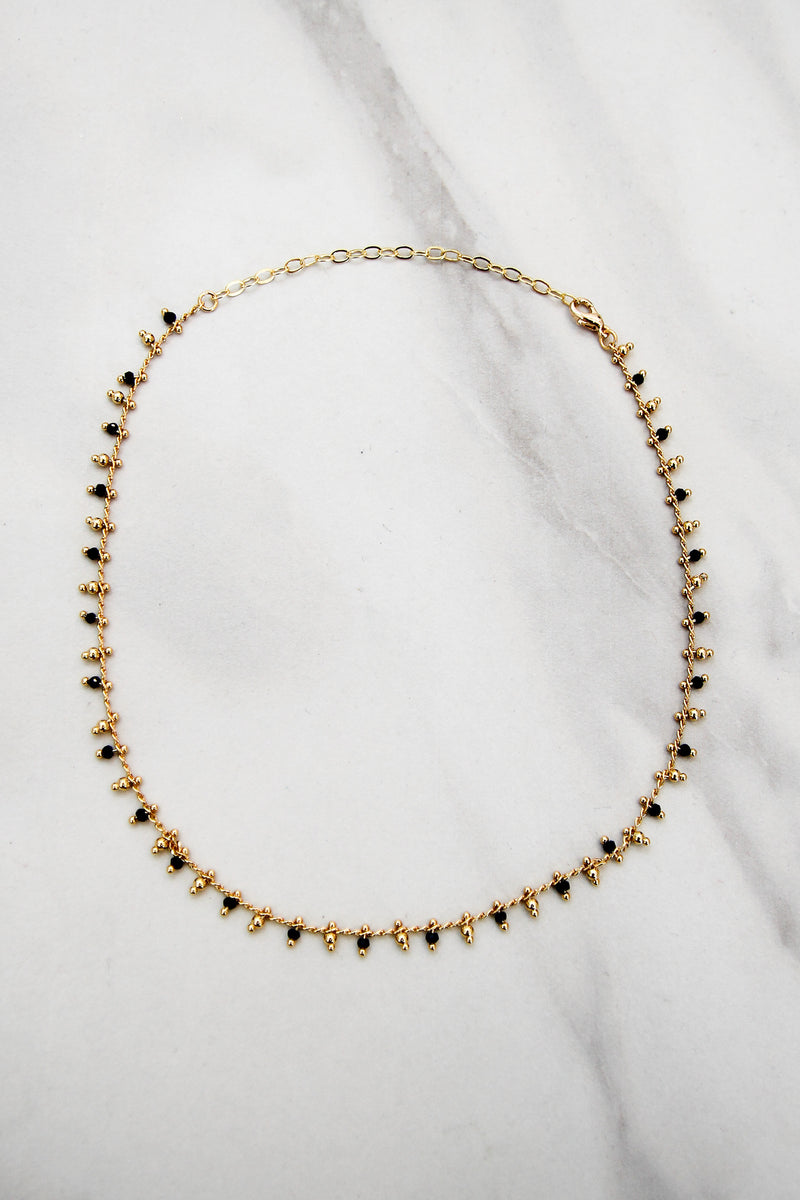 Beaded Drip Choker - Black & Gold