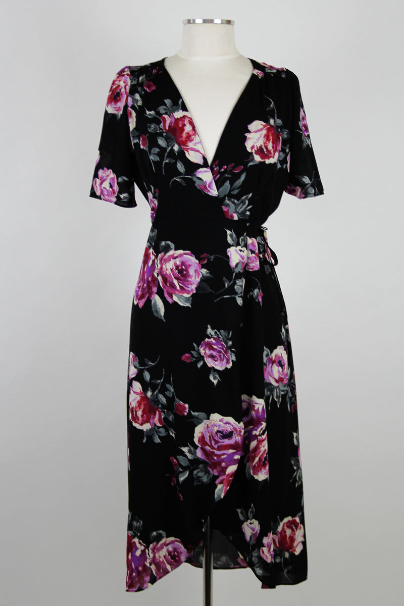 Black & Rose Wrap Maxi Dress