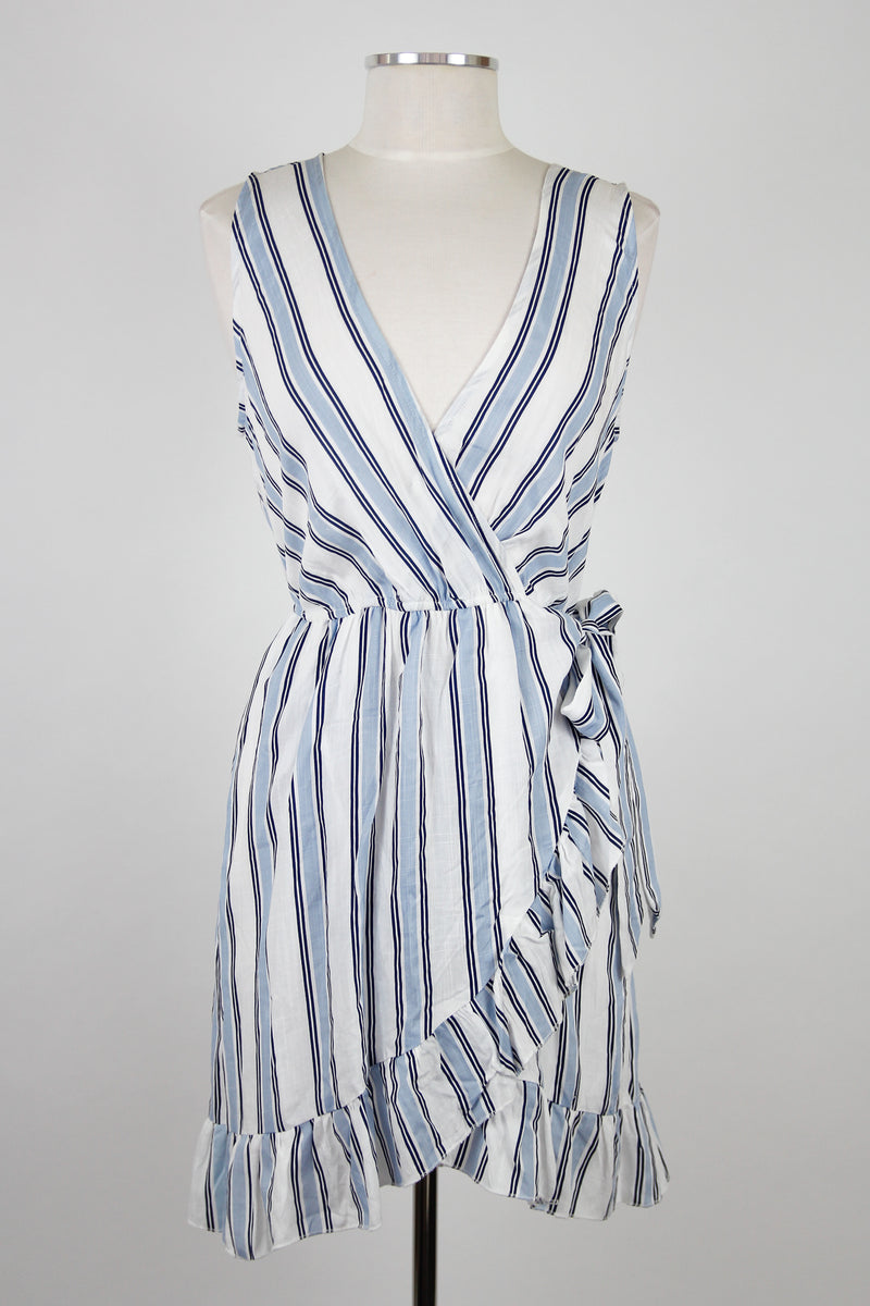 Sky Blue Stripes Wrap Dress