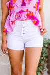 Sidewalk Strollin' Denim Shorts - Optic White