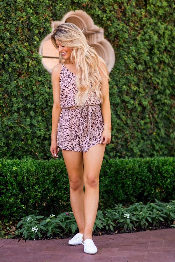 Spotted In The Wild Romper - Light Taupe