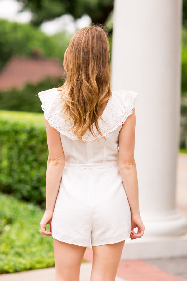 Showered In Love Romper - Off White