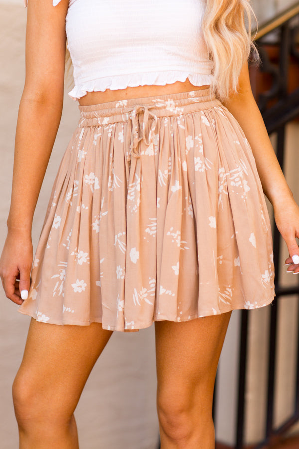 Amuse Society Coconut Kiss Mini Skirt - Latte
