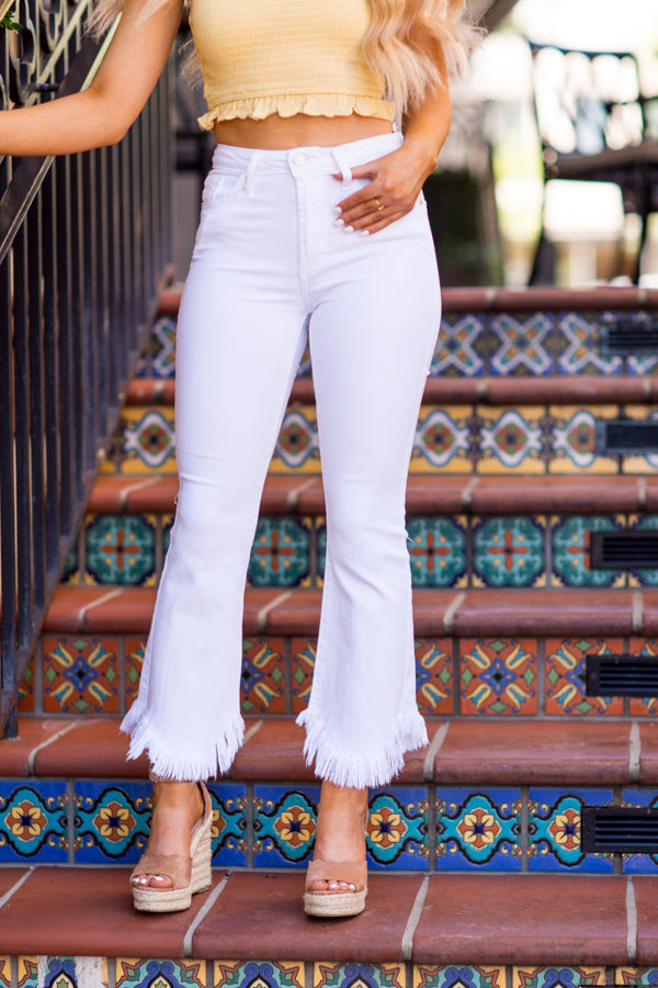 Frayed For Days Jeans - White Denim