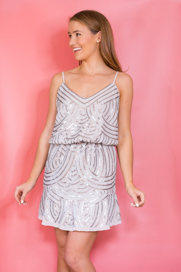 Shimmer On Over Dress - Silver