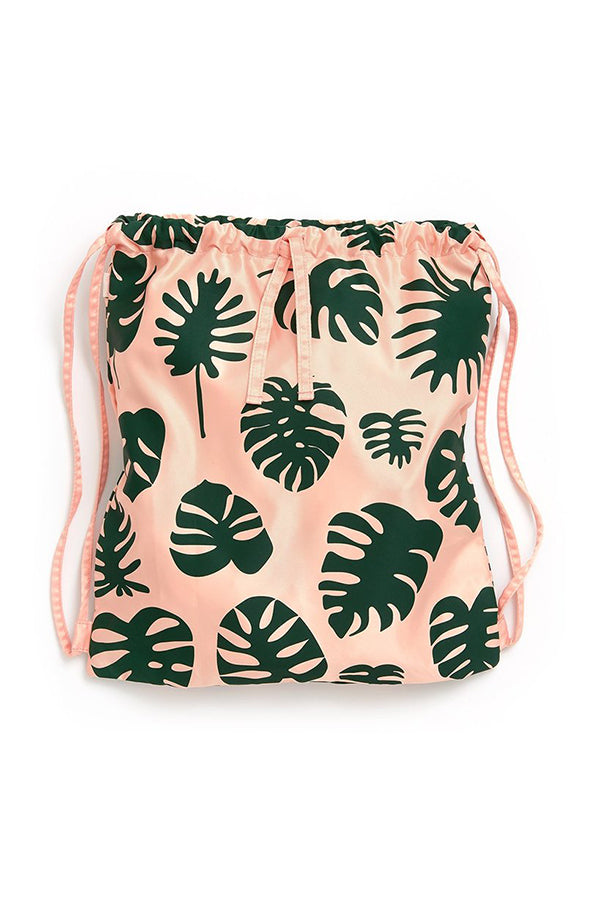 Ban.dō Drawstring Backpack- Monstera