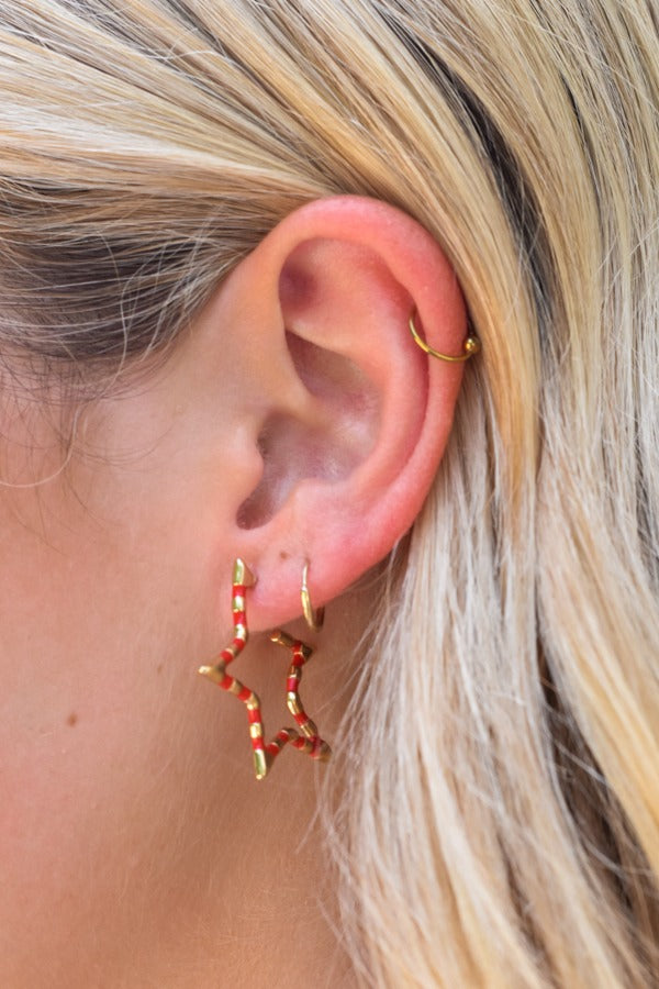 Mini Star Bright Earrings - Red