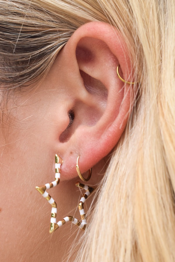 Mini Star Bright Earrings - White