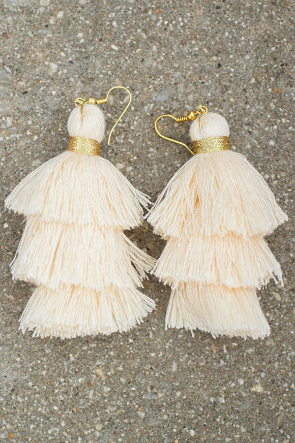 Ivory and Gold Fringe Earrings