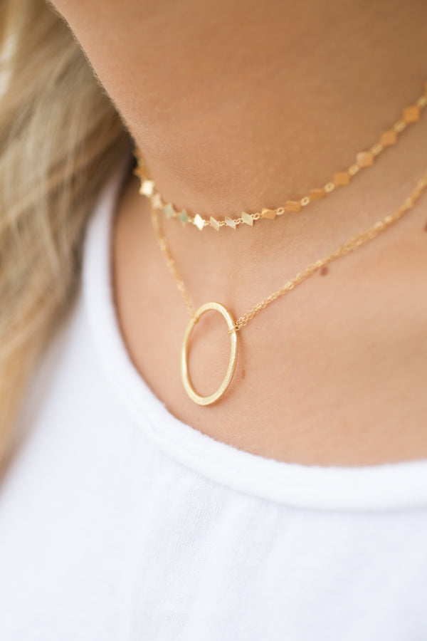 Golden Circle Chain Necklace
