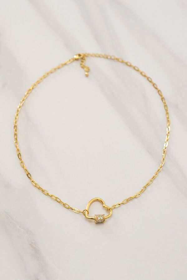 Lock My Heart Choker - Gold