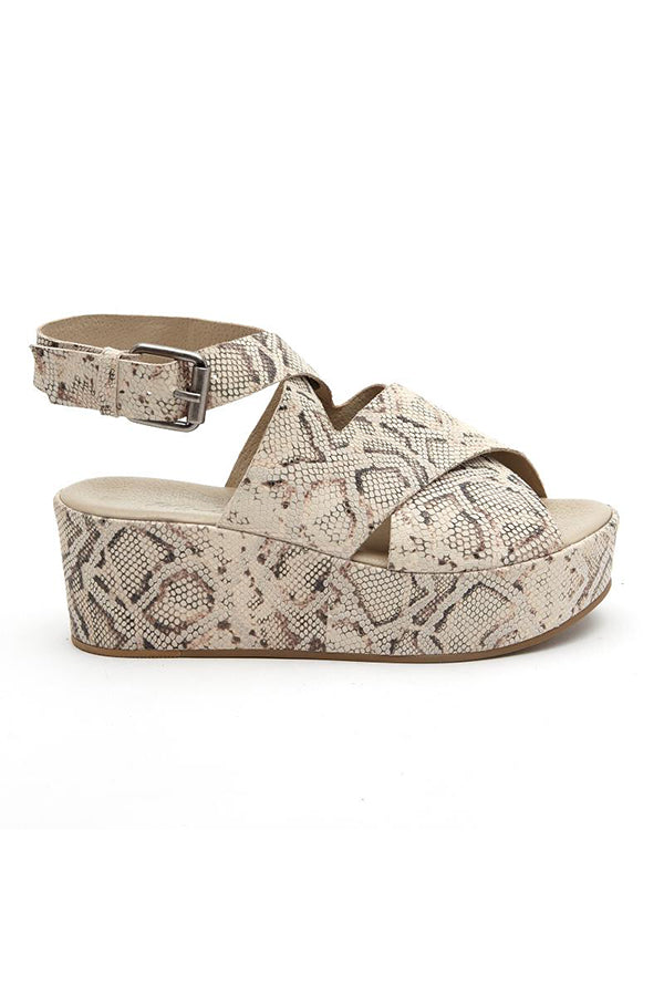 Matisse Runaway Wedge- Natural Snakeskin