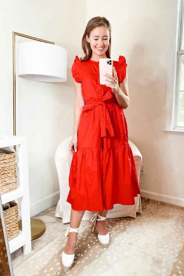 American Summer Midi Dress - Red