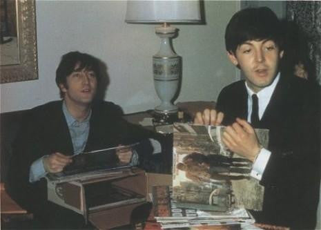 John Lennon & Paul McCartney Listening To Vinyl
