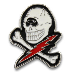 Skull Lightning Bolt Pin