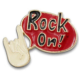Rock On Hand Think Bubble Pin