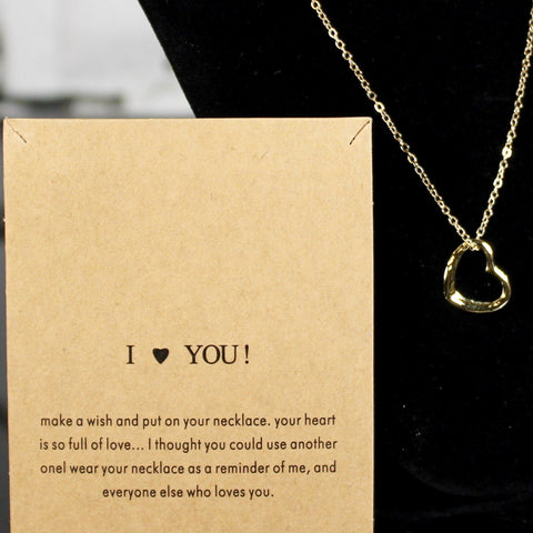 I Love You Charm Necklace (Gold)