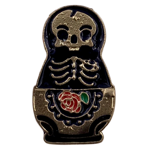 Skeleton Rose Pin
