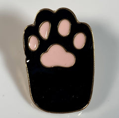 Black and Pink Cat Paw Pin