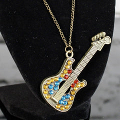 Bejeweled Guitar Necklace