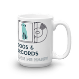 Dogs & Records Make Me Happy Mug