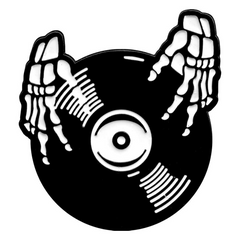 Skeleton Hands Vinyl Record Pin
