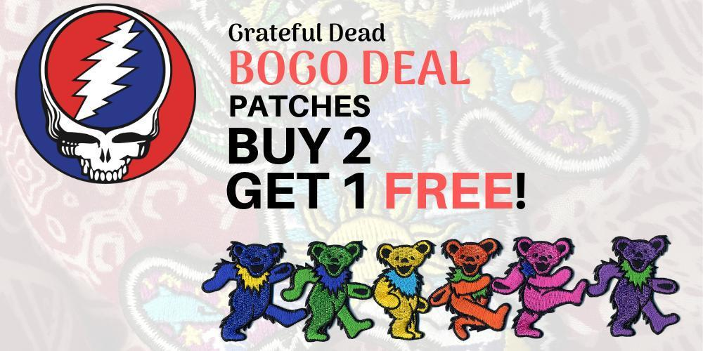 Check out our awesome selection of Grateful Dead patches including Steal Your Face, Dancing Bears, Jerry Garcia and more! All 2 for 1!