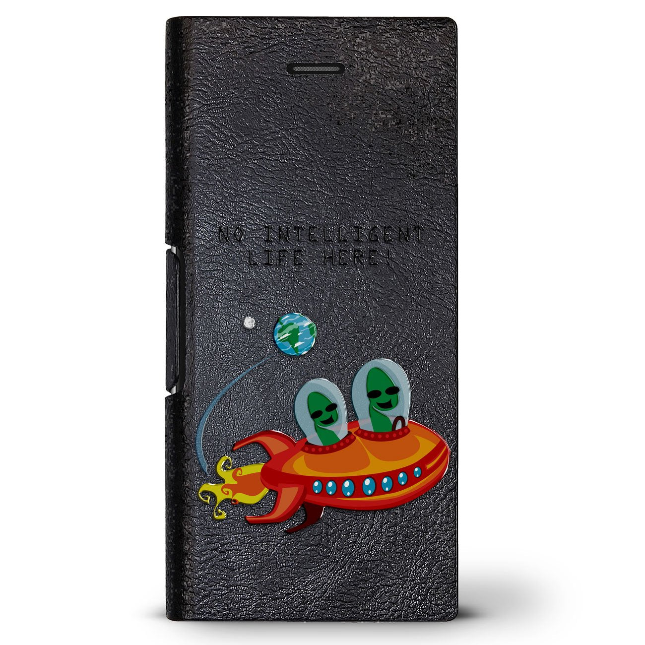 Aliens on Spaceship Quote | Leather Series case for iPhone 8/7/6/6s in Hickory Black