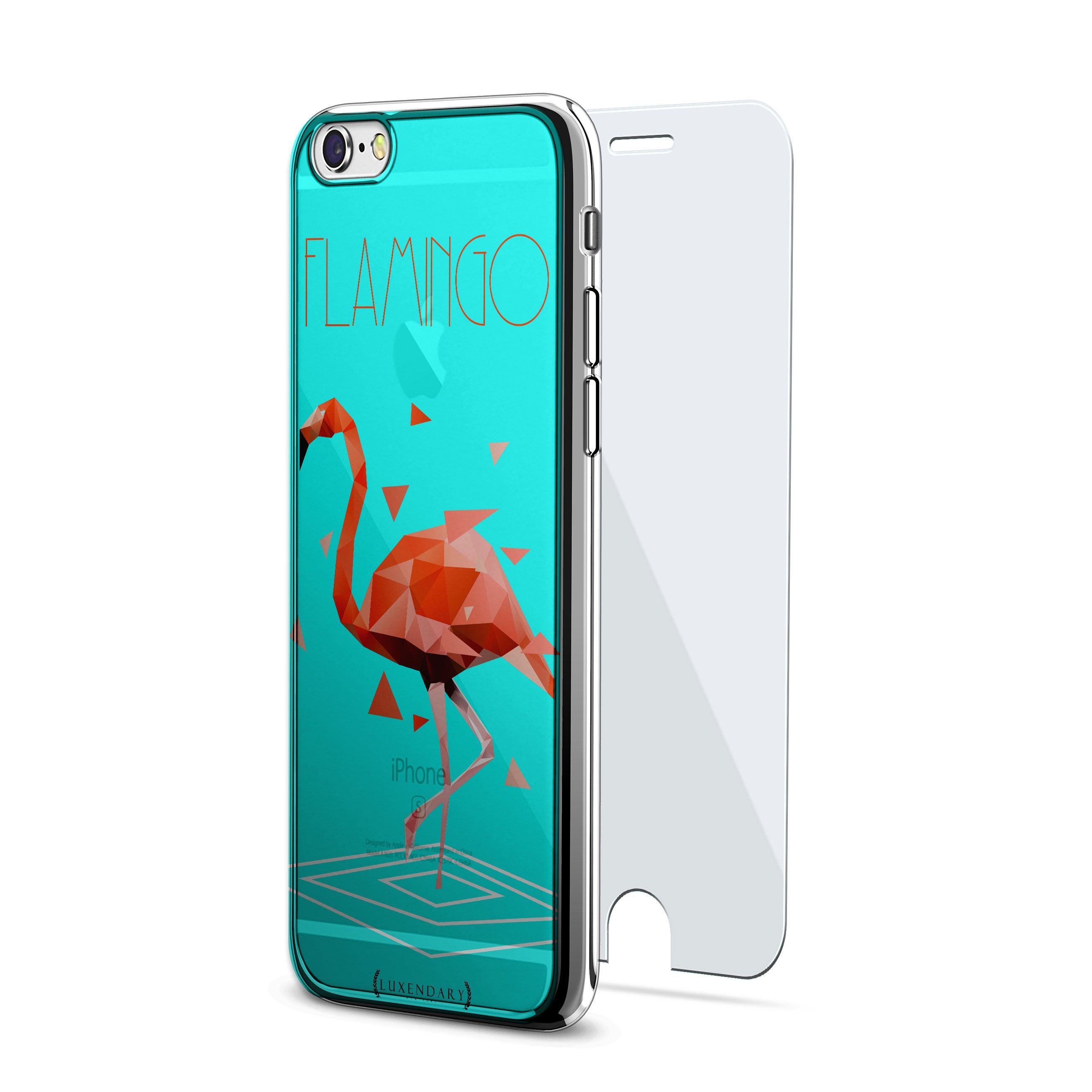 Turquoise Blue & Red Flamingo