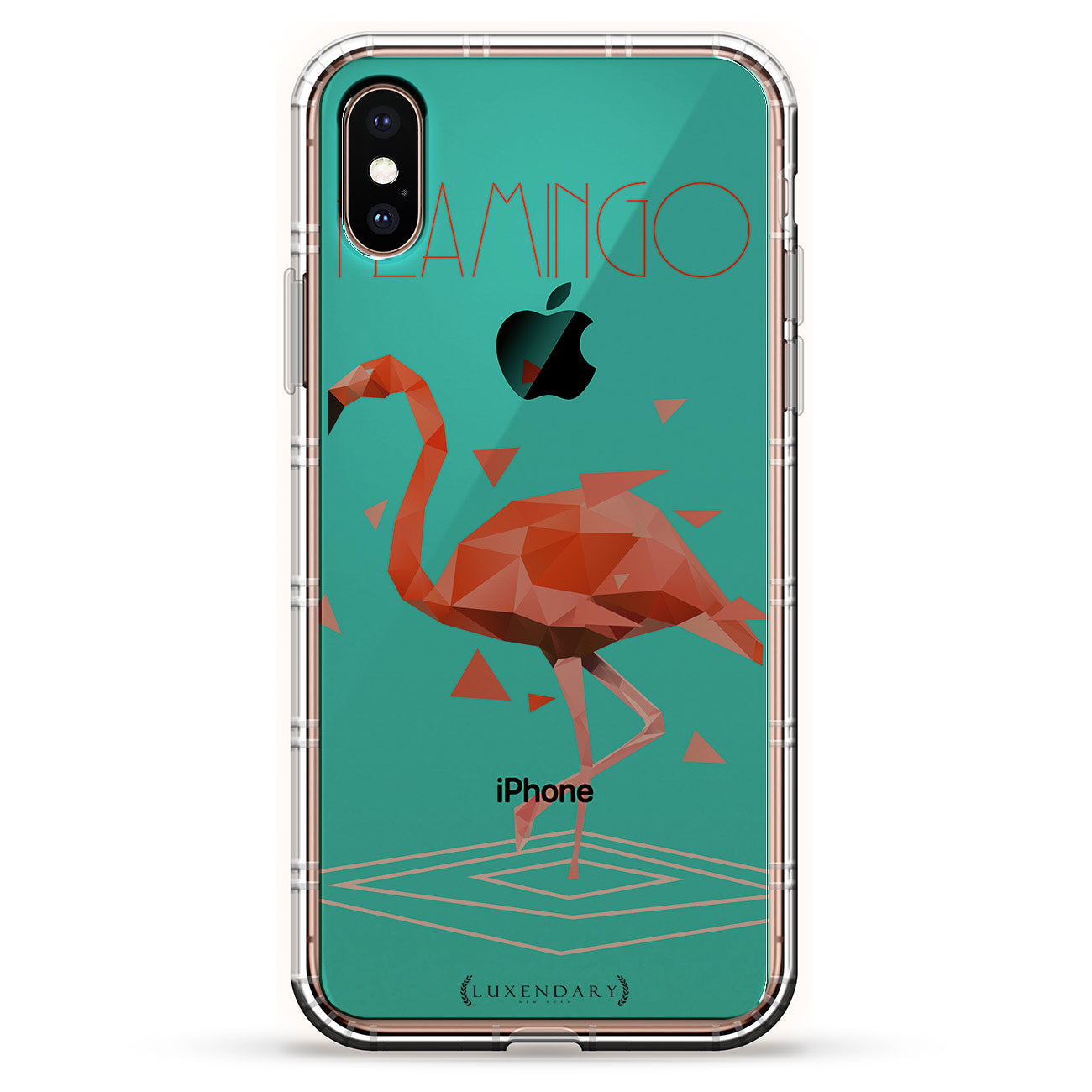 Turquoise Blue And Red Flamingo Angular Shape