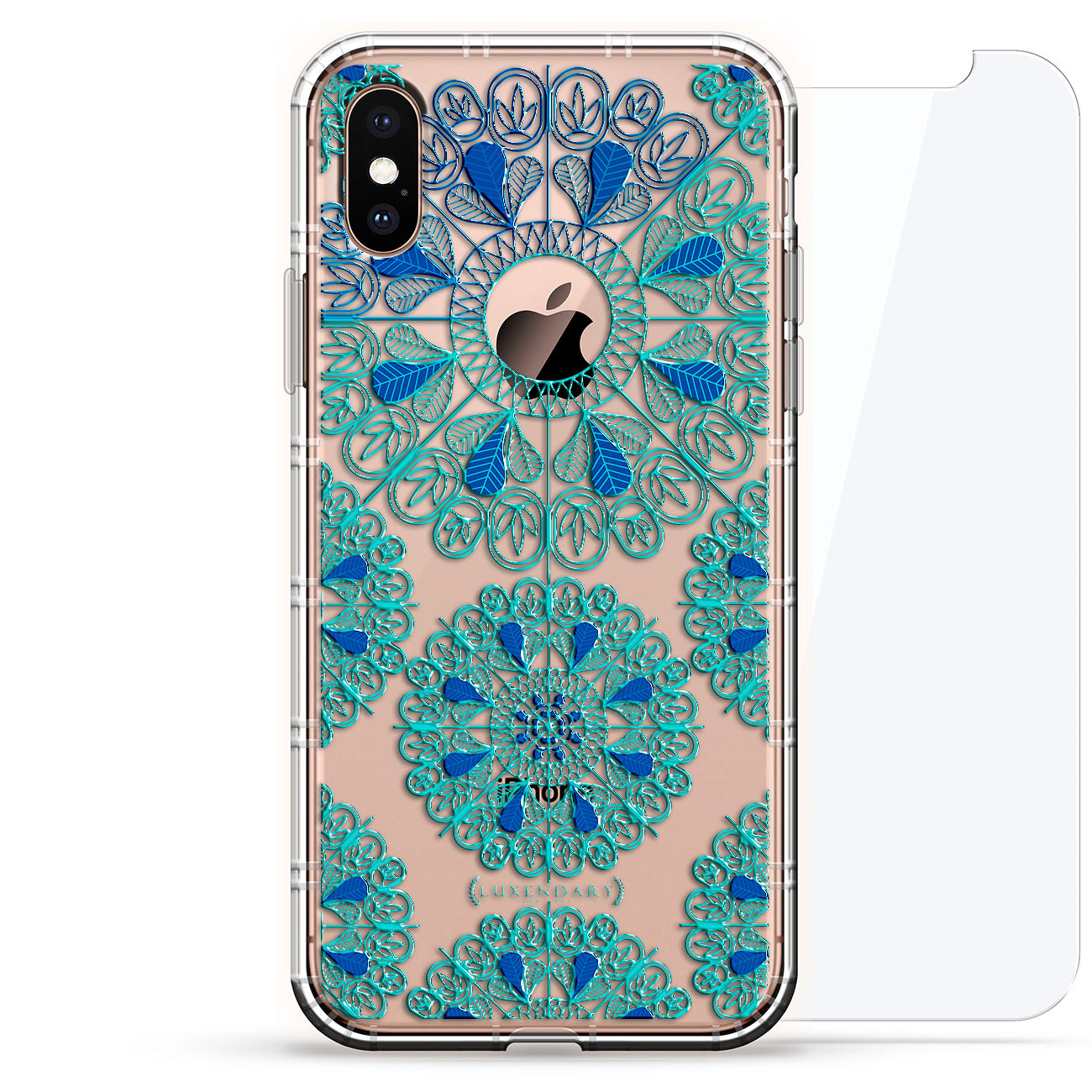 Turquoise & Blue Mandalas With Apple Logo Circle