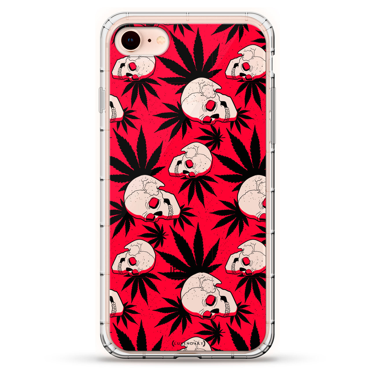 Red and Black Skulls and Pot Leaves