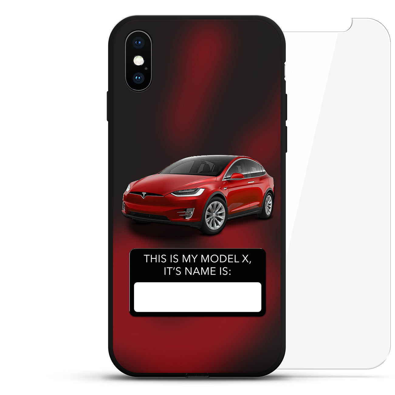 "Model X Nametag: Red Multi-Coat, 20"" Silver Wheels"
