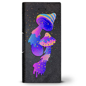 Multicolor Psychodelic Mushrooms | Leather Series case for iPhone 8/7/6/6s in Hickory Black