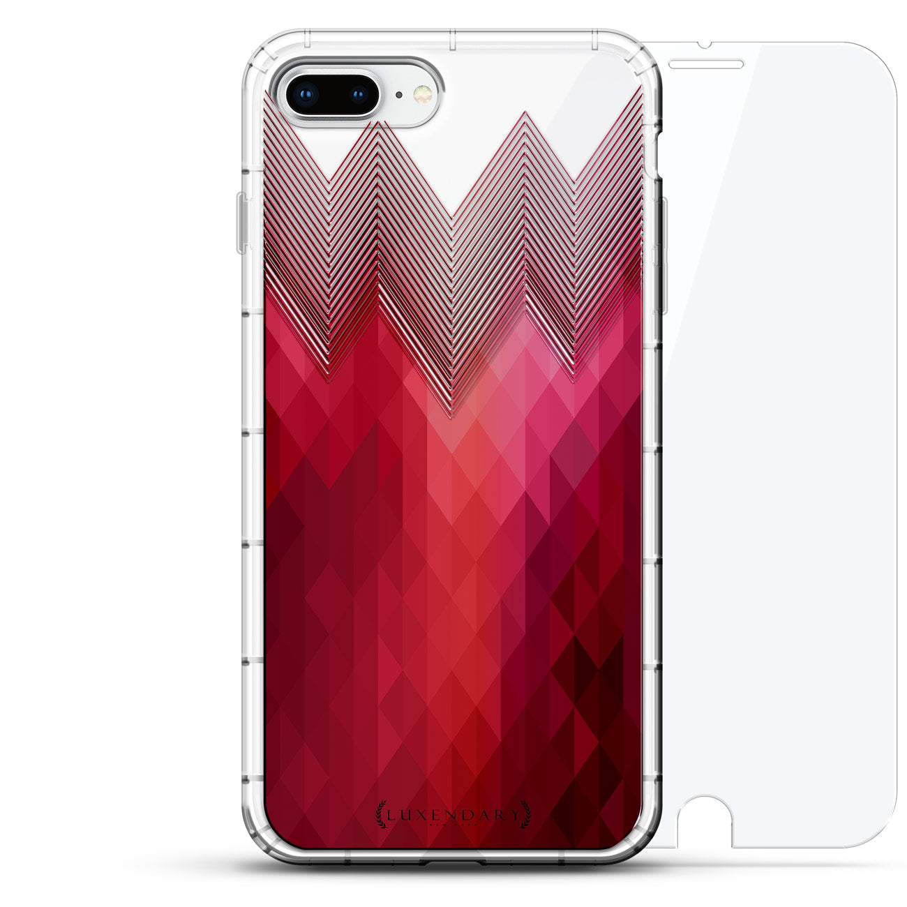 Clear & Pink Polygon Stripes
