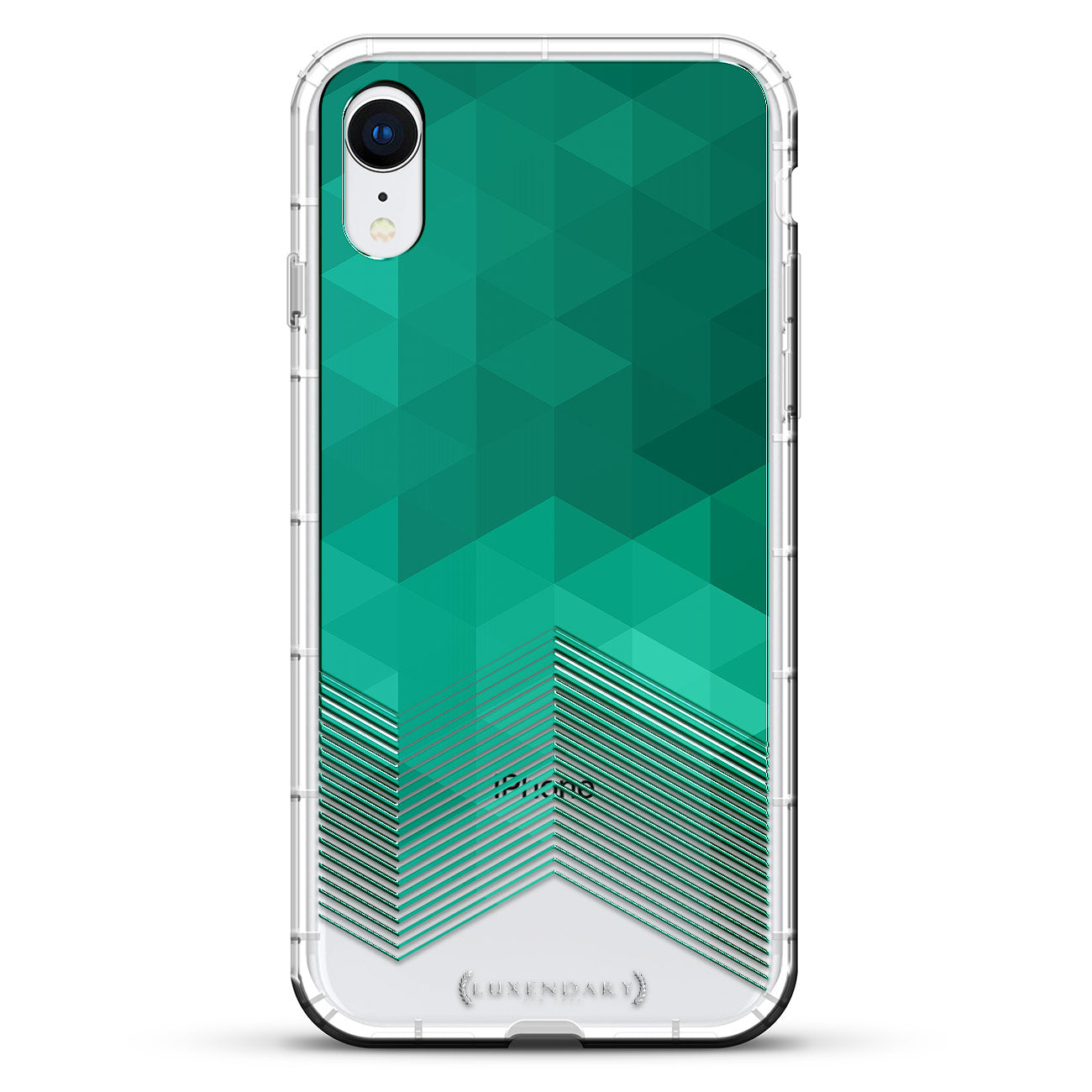 Clear & Turquoise Polygon Stripes