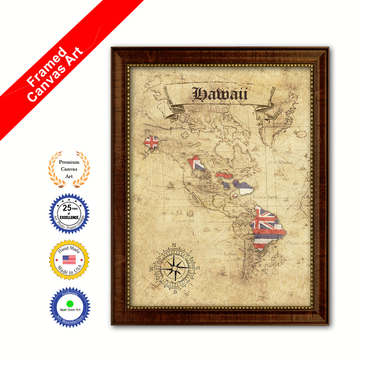 Hawaii State Vintage Map Brown Framed Canvas Print Home Decor Wall ...