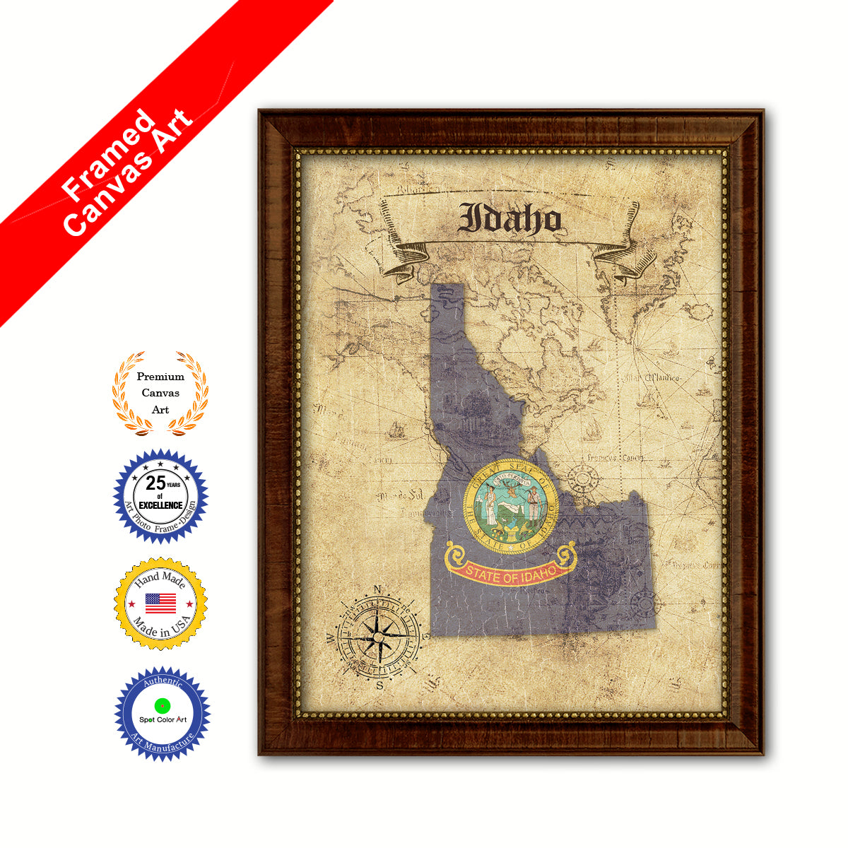 Idaho State Vintage Map Brown Framed Canvas Print Home Decor Wall ...