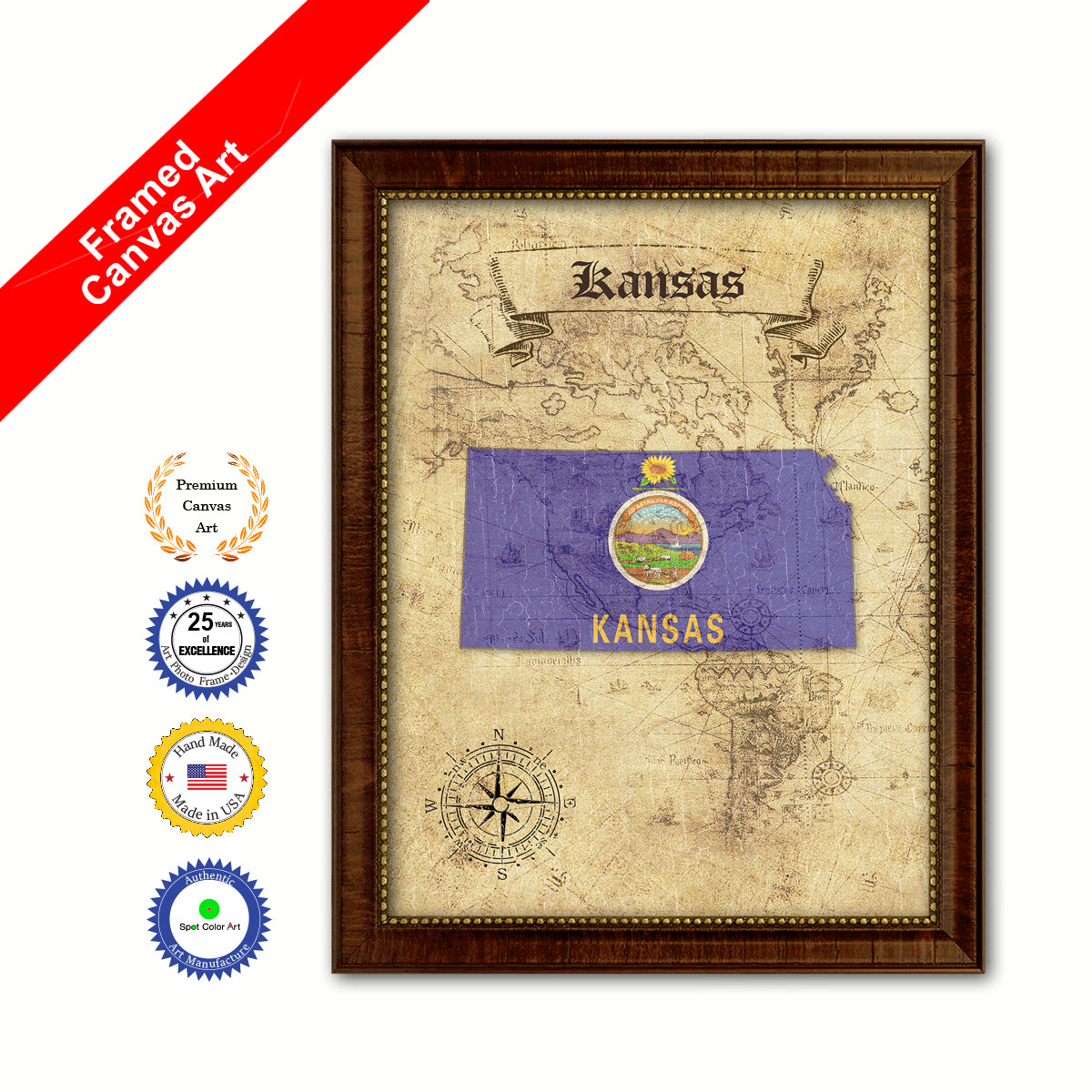 Kansas State Vintage Map Brown Framed Canvas Print Home Decor Wall ...