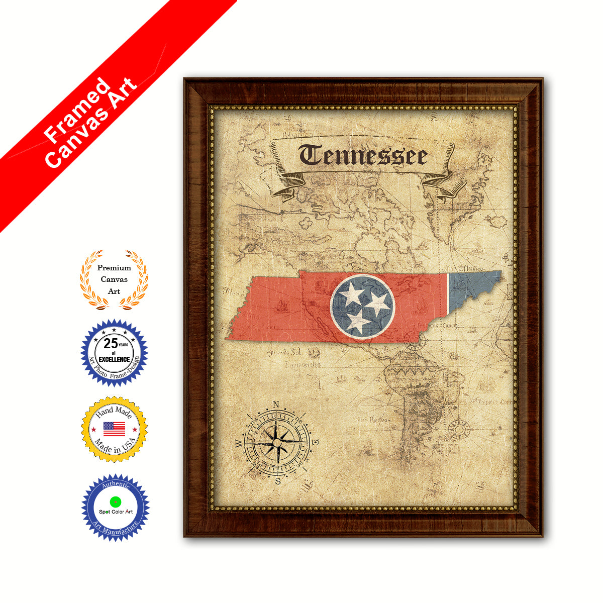 Tennessee State Vintage Map Brown Framed Canvas Print Home Decor ...