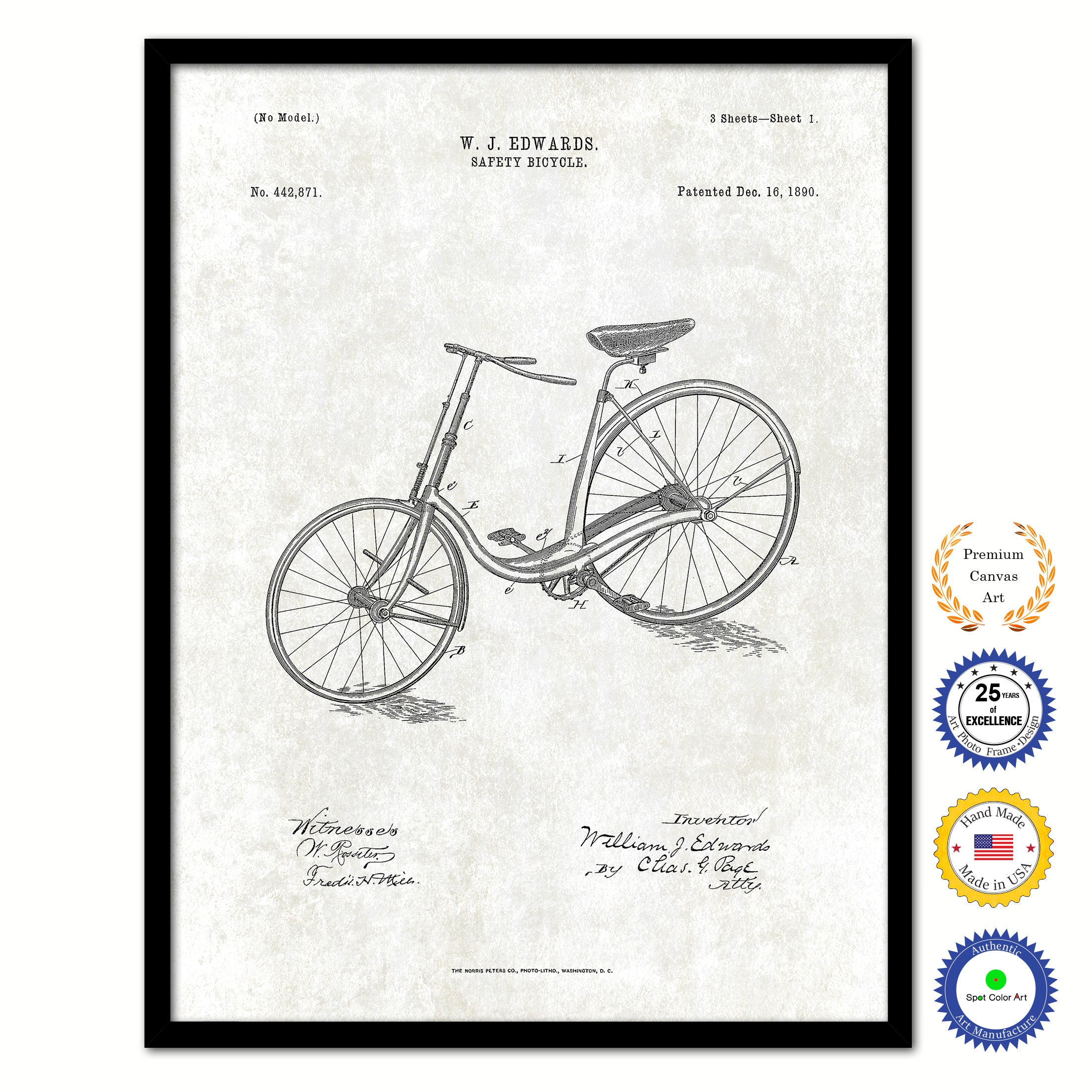 1890 Safety Bicycle Old Patent Art Print on Canvas Custom Framed Vintage Home Decor Wall Decoration Great for Gifts