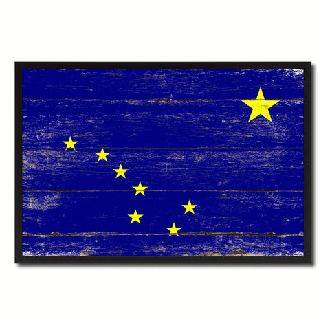 Alaska State Flag Vintage Canvas Print with Black Picture Frame Home DecorWall Art Collectible Decoration Artwork Gifts
