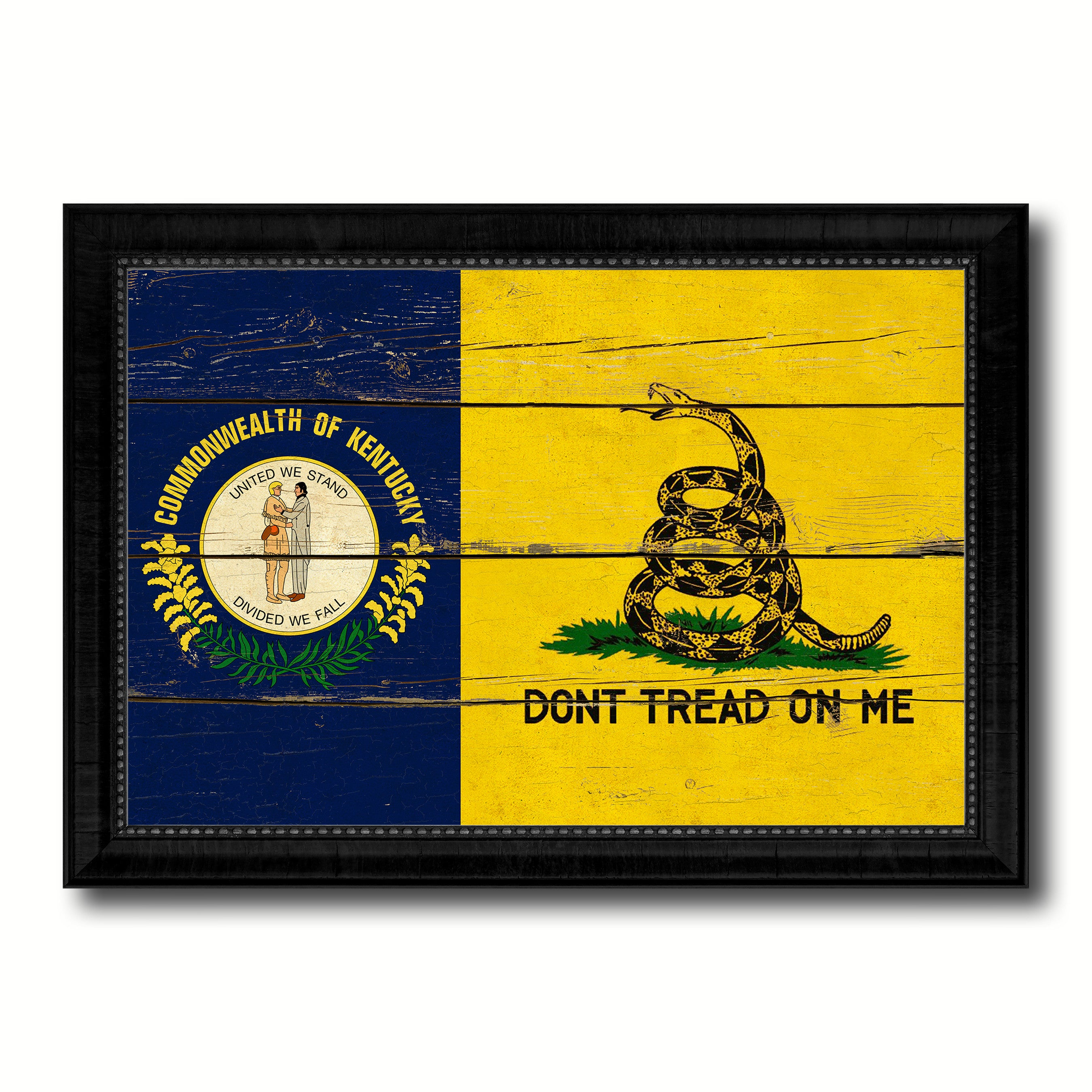 Gadsden Don't Tread On Me Tea Party Kentucky State Military Flag Vintage Canvas Print with Black Picture Frame Home Decor Wall Art Decoration Gift Ideas