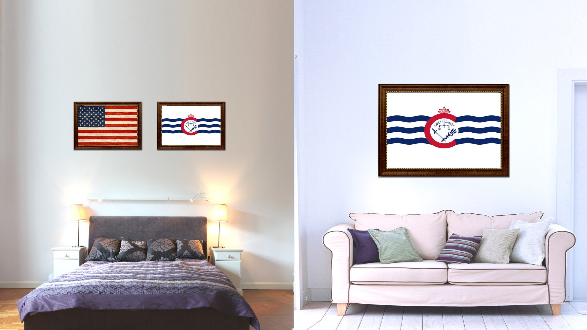 Cincinnati City Ohio State Flag Canvas Print Brown Picture Frame