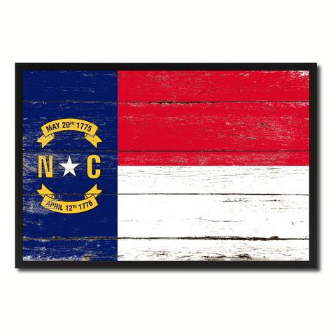 North Carolina State Flag Vintage Canvas Print with Black Picture Frame Home DecorWall Art Collectible Decoration Artwork Gifts