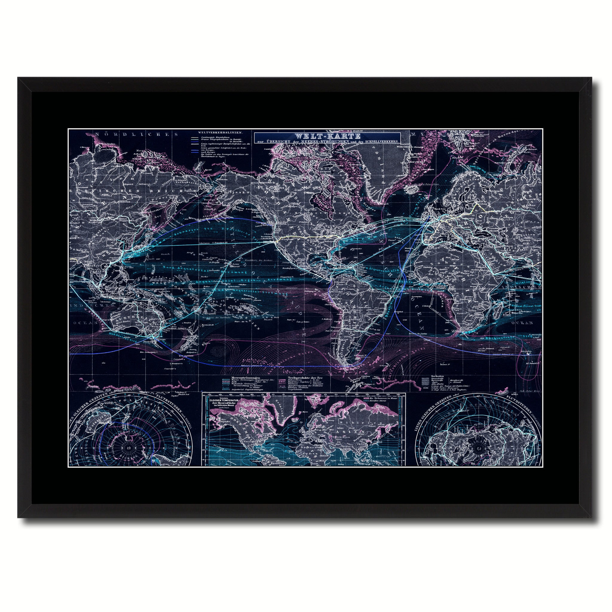 World Ocean Currents Vintage Vivid Color Map Home Decor Wall Art ...